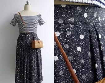 15% V-DAY WEEK Sale - Vintage 80's 'Milky Way' Moon & Galaxy Print Skirt S or M