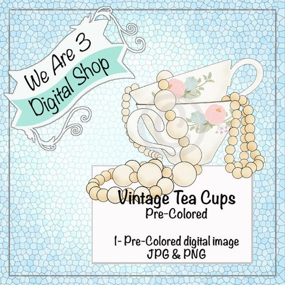 We Are 3 Digital Shop, Pre-Colored Digital Image, Vintage Tea Cups
