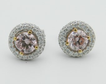 18K White Gold 1.55 ct Fancy Pink Diamond Halo Stud Studs Earrings