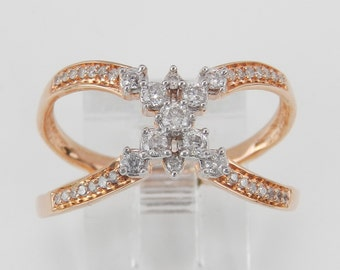 Rose Gold Diamond Crossover Ring Modern Cluster Band Size 7 Perfect Gift