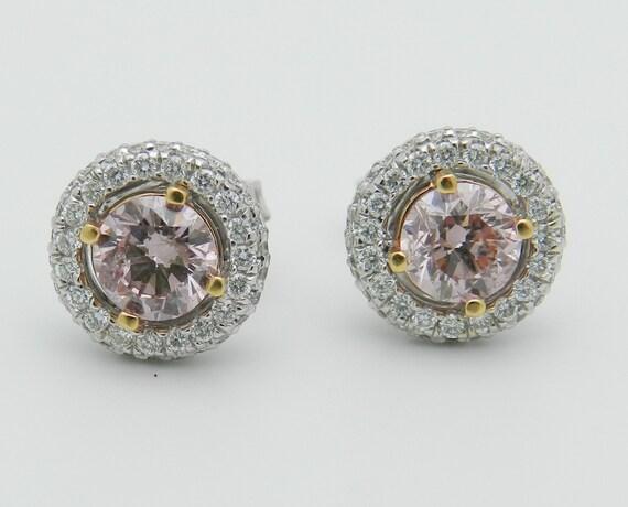 18K White Gold 1.55 ct Fancy Pink Diamond Halo Stud Studs Earrings