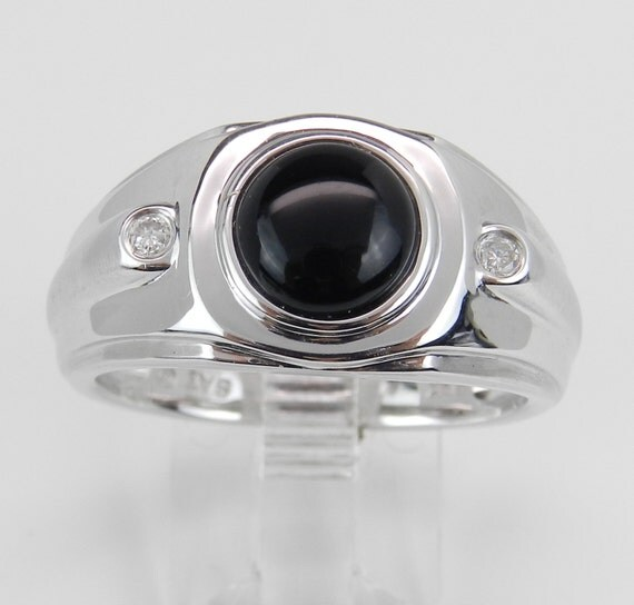 Mens Diamond and Black Onyx Engagement Ring Solitaire Pinky White Gold Size 10.5