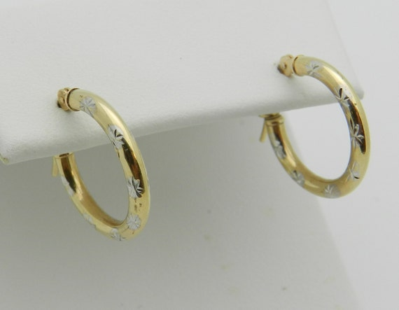 14K Yellow Gold Hoop Earrings Snowflake Hoops FREE SHIPPING Fine Jewelry Perfect Gift