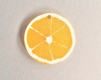 29mm. 5CT. Resin Fruit Cabochons, Orange Slice,