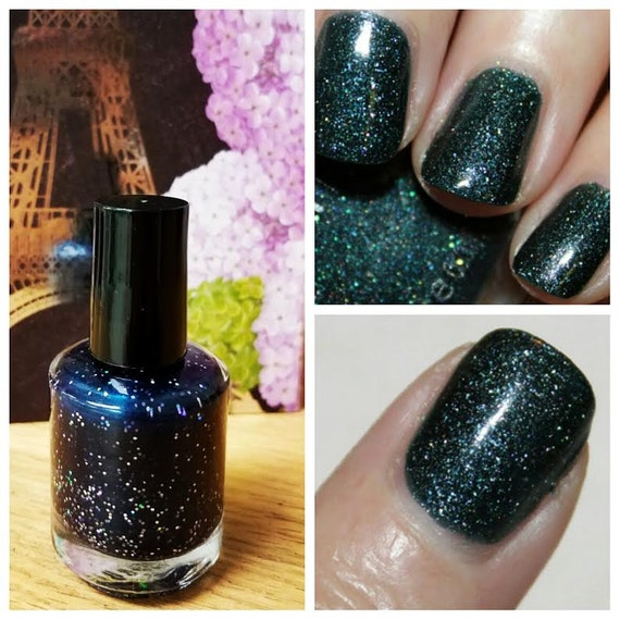 NEW Infinite Green: Custom-Blended Nail Polish Glitter Nail Polish/ Indie Lacquer / Paris Sparkles