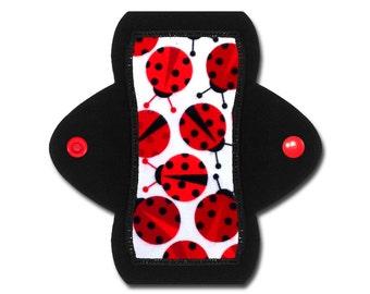 "Reusable Panty Liner (6"" Light - Ladybug Flannel)"