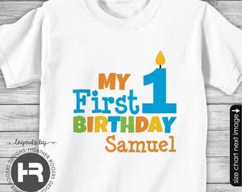 First Birthday Shirt or Bodysuit -BOYS- Personalized 1st Birthday Shirt First Birthday Outfit