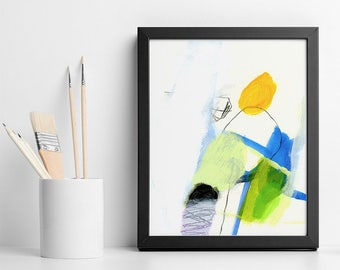 "Original Abstract Painting ""California Trip 01"", acrylic painting on paper, Green Yellow and blue small wall art"