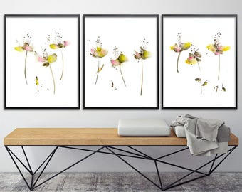 Pink Yellow Flower Print Set. Watercolor painting. Archival Giclee print from Abstract painting. Gift for her 8x10 or A4