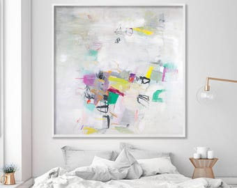 Giclee print large Art print, white painting canvas art, large abstract art by AF Duealberi