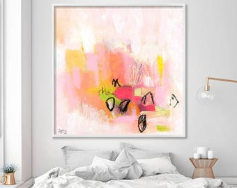 "Pink art print of acrylic painting, giclee print of large abstract painting ""Love letters 4"""