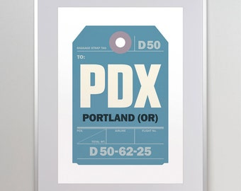 Portland, Oregon, PDX. Luggage Tag Poster. Baggage Tag Print. Travel Poster. Airport Code.