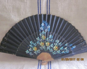 Vintage 1940s Handpainted Fan with Provenance/ WWII /Friendship Fan/Womens History/WWII History/Steampunk Wedding/Black Fan/CouponCode