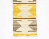 Tribal Mexican Rug Sampler / Weaving / Wall Hanging, Yellow Decor