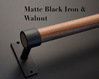 Iron and American Black Walnut Towel Bar, Made to Order