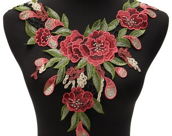 Rose Flower Motif Collar Sew On Patch Cute Applique embroidered 1 pc