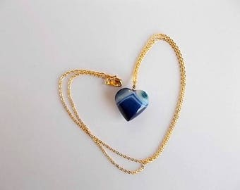 Indigo Necklace, Heart Agate Pendant, Tween Jewelry, Gold Bohemian Necklace, Gift for Her, Mineral Jewelry