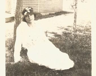"""Vintage Photo """"Languid Afternoon"""" Pretty Girl Victorian Dress Victorian Hat Antique Photo Paper Ephemera"""