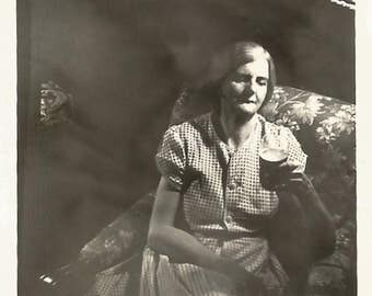 """Vintage Photo """"After A Long Day"""" Woman Relaxes Comfy Chair Beer Glass Found Vernacular Photo"""