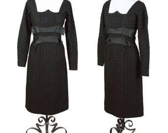 1950s Dress // Oleg Cassini Designer Wool Vampy Black Dress
