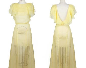 SPRING SALE 1930s Dress // Yellow Cotton Organdy Sheer Airy Full Length Dress