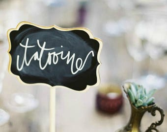 Romantic Wedding Chalkboard Signs, Wedding Table Numbers, Blank Chalkboard Table Stand, Wedding Chalkboards, As seen on Style Me Pretty