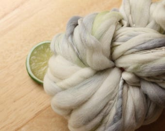 RESERVED Seattle Baby - Handspun Wool Yarn Pastel Grey Thick and Thin Skein