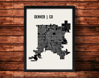 Denver Map Artwork | Map of Denver | Denver Colorado Map | Denver City Map | Denver Poster | Denver Wall Art Print