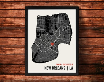 New Orleans Wedding Map Art | New Orleans Wedding Gift | New Orleans Art Print | New Orleans Poster | New Orleans Map