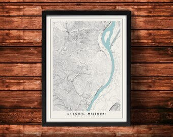 St Louis Topographic Map Art Print