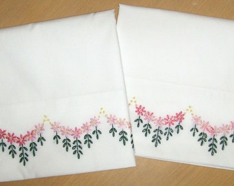 Queen   Size, Hand Embroidered Pillowcases