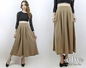 Taupe Maxi Skirt Taupe Skirt 90s Skirt Taupe Midi Skirt High Waisted Skirt High Waist Skirt Secretary Skirt Work Skirt 90s Midi Skirt