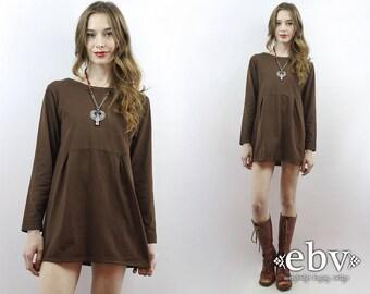 Brown Dress Simple Dress Minimalist Dress Normcore Dress 90s Dress 90s Babydoll Dress 90s Mini Dress 90s Dress 1990s Dress S M