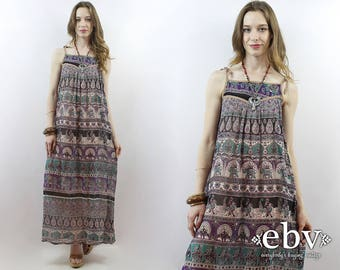Indian Maxi Dress Vintage Indian Dress 1970s Dress 70s Dress India Gauze Dress Festival Dress Hippie Dress Hippy Dress Bohemian Dress S M L