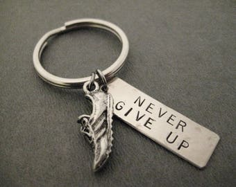 Run NEVER GIVE UP Key Chain / Bag Tag - Ball Chain or Key Ring - Inspirational Runner Key Chain - Motivational Runner Bag Tag - Guy Runner