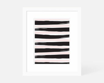 Brush Stroke Painting / Large Minimalist Modern Art Print Black / Vertical Wall Art / Framed and Matted / 5x7 8x10 11x14 16x20 18x24