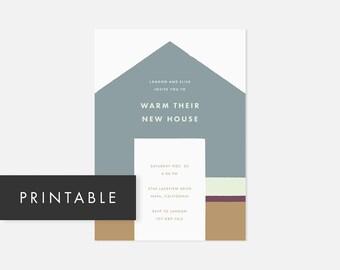 Printable Housewarming Invitation / Simple Printable Invite / Modern DIY Invite / House Warming / Muted Blue