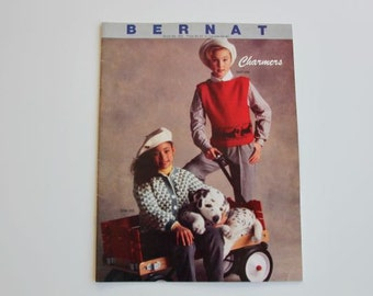 Vintage 1985 Bernat Book No. 555 Charmers Childrens Knit Sweater Patterns for Boys and Girls #84