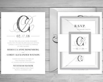 SAMPLE Wedding Invitation Suite - The Intertwined Wedding Invite Suite SAMPLE - Personalized Wedding Invitations - Full Wedding Suites