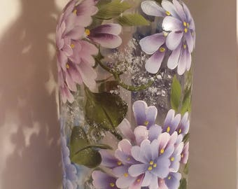 16 ounce hand painted blue and purple hydranageas and white Baby's Breath soap/lotion pump dispenser