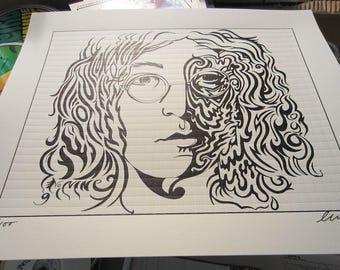 Revolution No. 9 (Blotter Art) Edition of 100 Signed & No. Art Print John Lennon The Beatles