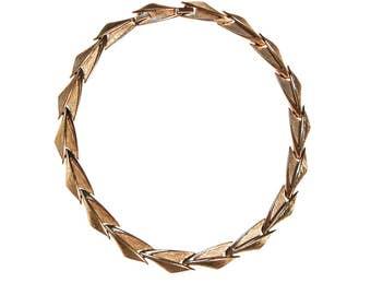 Crown Trifari Gold Link Necklace, Designer Vintage Jewelry, Retro, 1960s