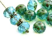 6x8mm Picasso Aqua Blue Green Czech glass beads, donut, rondelle, gemstone cut, fire polished - 12Pc - 3061