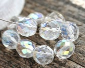 10mm Crystal Clear Czech glass beads, fire polished, AB finish glass beads, faceted - 10pc - 2280
