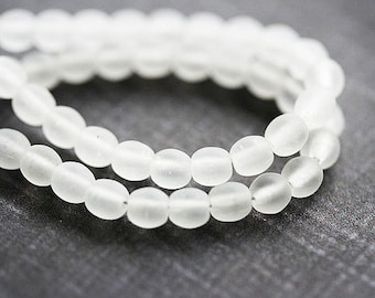 5mm Matte clear beads, czech glass, crystal clear, frozen clear, white beads, round spacers, druk - 40Pc - 0837