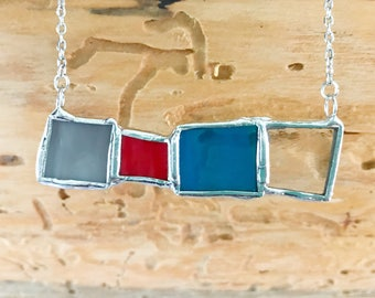 Unique Stained Glass Necklace Pendant