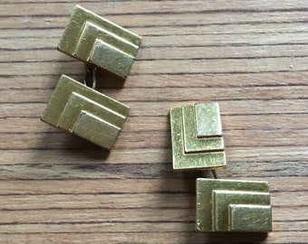 Art Deco Cuff Links Gold Plated Cuff Links Rectangular 1930s Art Deco French Modernist Accessories Brand MURAT