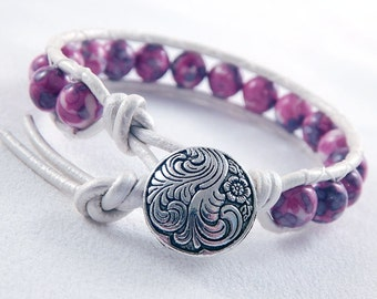 Pink and Purple Rainforest Stone Jade Leather Wrap Bracelet - White Leather - Silver Swirl Button - Gifts under 20
