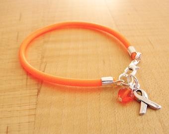 Orange Awareness Bracelet ( Rubber) -  DVT, Kidney cancer, Leukemia, Multiple Sclerosis,  RSD, Self injury, CRPS, Nerve Pain