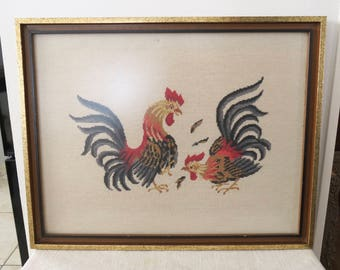 Vintage Large Framed Needlepoint Cross-Stitched Embroidered Rooster Wall Décor